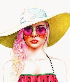 morgandavidsonart: Summer Girl unfinished, I think I like her unfinished. Colored pencil.