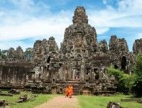 Ancient Bayon temples of Angkor in Cambodia