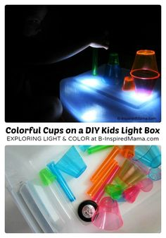 Colorful Cups on a DIY Kids Light Box-I need a light table/pad Sensory Bins, Sensory Activities, Infant Activities, Sensory Play, Activities For Kids, Sensory Table, Activity Ideas, Learning Through Play, Fun Learning