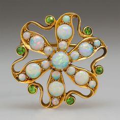 Victorian Natural Opal & Demantiod Garnet Brooch Pin Pendant Solid 18K Gold  #Pendant