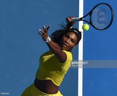 Serena Williams of the US returms against Russia's Margarita Gasparyan during their women's singles game on day seven of the 2015 Australian Open tennis tournament in Melbourne on January 24, 2016. AFP PHOTO / PAUL CROCK-- IMAGE RESTRICTED TO EDITORIAL USE - STRICTLY NO COMMERCIAL USE / AFP / PAUL CROCK        (Photo credit should read PAUL CROCK/AFP/Getty Images)