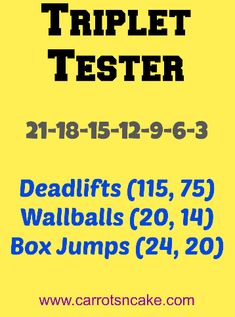 Triplet_Tester_WOD_from_CrossFit deadlifts wall balls box jumps Crossfit Workouts At Home, Wod Workout, Crossfit Humor, No Equipment Workout, Crossfit Games, Fitness Equipment, Crossfit Video, Crossfit Chicks, Weekly Workouts