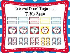 This set includes 101 pages. You can choose from 8 different color schemes. You will get hanging table signs, desk tags, small table bin tags, and some blank ones to use as you like. Choose all one color or mix and match among them all.