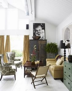 Love everything about this room... are those painted planks on the floor?