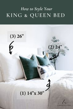 Create a beautiful bedroom with our guide to styling your king or queen size bed pillows. This is the secret formula you've been looking for! | Linen & Ivory // Bed Pillow Sizes // Bed Pillow Arrangement // Bed Pillow Ideas King Or Queen Bed, King Beds, Queen Beds, Home Decor Bedroom, Bedroom Ideas, Master Bedroom, Bed Pillow Arrangement, Above Bed Decor, King Pillows