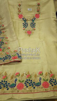 #pintrest@Dixna deol Peacock Embroidery Designs, Embroidery Suits Design, Embroidery Fashion, Designer Punjabi Suits, Indian Designer Wear, Dress Neck Designs, Blouse Designs, Red Salwar Suit, Embroidery Suits Punjabi