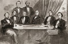 May 21, 1861: The Confederate Congress meets for the last time in Montgomery. Montgomery served as capital for just three months, from February to May 1861. After Virginia joined the Confederacy in April 1861, leaders urged the move to the larger city of Richmond, which was closer to the military action. Confederate States Of America, America Civil War, Visit Texas, Jefferson Davis, National Flag, Constitution, American History, Audio Books, Painting