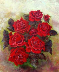 Painting Red roses - Artist Małgorzata Mutor