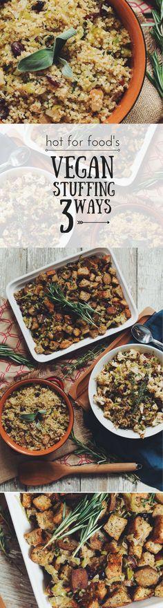 #vegan stuffing 3 ways #THANKSGIVING | RECIPE on youtube.com/hotforfoodblog