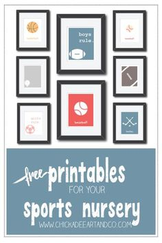 Adorable free printables for a sports themed nursery or kids room... Love it!
