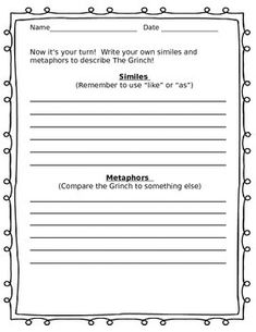 Grinch Similes and Metaphors | 4th Grade | Pinterest