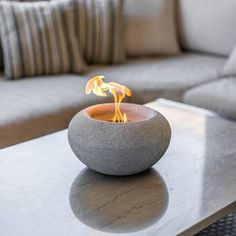 Concrete Crafts, Concrete Art, Concrete Projects, Outdoor Table Tops, Outdoor Decor, Outdoor Living, Tabletop Fire Bowl, Tabletop Fireplaces, Stone Table Top