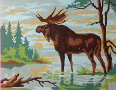 Moose paint by number 8 by 10 by SeaGlassGifties on Etsy