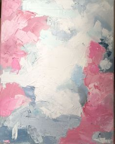 This pink and blue abstract on canvas was originally painted with a pallet knife to create texture and layers of color. The artist has individually touched each