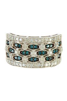 Blue & White Diamond Silver Ring - 0.75 ctw