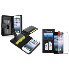 iPhone SE Case+Screen Protector, iPhone 5 Case, Insten Black Leather Case with Wallet with FREE Reusable Screen Protector Compatible with Apple iPhone 5 / 5s / 5SE. Valued Combo includes: 1 x Black Leather Case + 1 x Reusable Screen Protector. Generic / Aftermarket. Accessory only. Cell phone is not included. All rights reserved. All trade names are registered trademarks of respective manufacturers listed. Apple , iPhone , iPad , iPod are registered trademarks of Apple , Inc. Apple does…