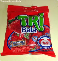 Espaço Sempre Bella: #Resenha - TRI Bala Sabor Morango / TRI Bala Sabor...