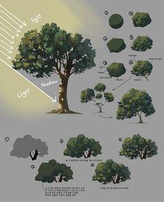 How to Art — Plant Sketches by Shin jong hun Digital Art Tutorial, Digital Painting Tutorials, Art Tutorials, Concept Art Tutorial, Digital Paintings, Planta Digital, How To Pixel Art, Tree Sketches, Plant Sketches