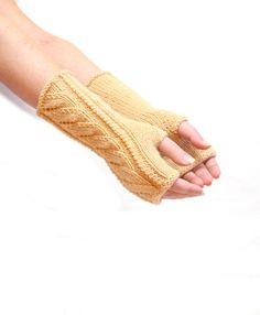 Knit arm warmers beige fingerless gloves long knit by HandMadeLana