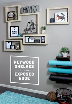 Plywood Shelves for our Home Gym | Gray House Studio