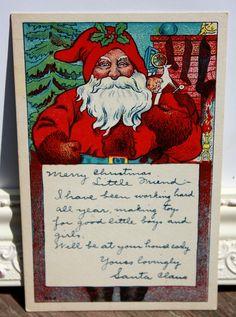 Vintage Christmas Postcard Vintage Santa Claus by onestrangegirl