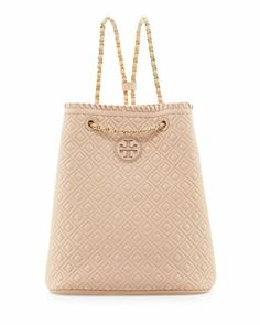 Tory Burch Marion Quilted Leather Backpack, Pink