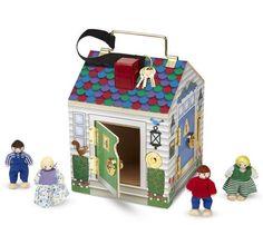 Puppenhaus mit Klingel und schliessbaren Türen inkl. 4 Puppen Holz Melissa & Doug | MD12505 / EAN:0000772125055