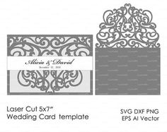 Wedding invitation Pattern Card 57 Template by EasyCutPrintPD