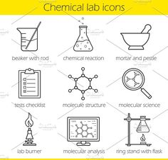 Chemical laboratory icons. Vector by Icons Factory on @creativemarket