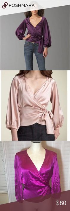 """DVF Wrap Top Color of blouse is fuchsia. Dress up with pants or skirt for work, dress down with jeans for a date night! Style name is TORIN Back length 22"""" Sleeve 21"""" 100% silk Diane Von Furstenberg Tops Blouses"""