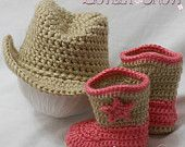 Crochet Patterns Cowboy Set. Includes patterns for Boot Scoot'n Boots and Boot Scoot'n Cowboy Hat. $10.75, via Etsy.
