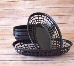 Black Plastic Fast Food Basket, Black Fry Basket,