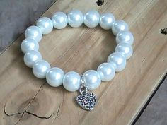 Chunky pearl Stretch Bracelet with Heart Charm, Stackable