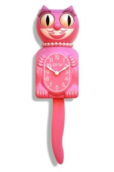 """These lady versions of the original Kit-Cat Clocks add a woman's touch to American classics. These smiling, tail-wagging clocks are a playful touch on your walls, and their timeless design introduces an immediate retro splash to any interior. Animated eyes and tail. Battery operated clock.    15.5"""" x 4"""" x 2.75""""   Honeysuckle Cat Clock by Kit Cat. Home & Gifts - Gifts & Things Santa Monica, Los Angeles, California"""