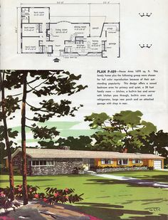 1960 Ranch House Plans Luxury Pin by David Carr On Mid Century Modern Vintage House Plans, Modern House Plans, Vintage Homes, Mid Century Ranch, Mid Century House, Ranch House Plans, Mid Century Modern Design, Kit Homes, Ranch Style