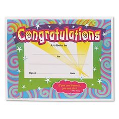 6 pk) certificate congratulations | Pinterest | Certificate and Products