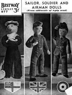 Free Knitting Pattern: Sailor, Soldier and Airman Dolls