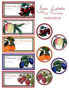 Free Printable Jam Jar Labels design by - The Graphics Fairy Jam Jar Labels, Jam Label, Canning Labels, Blank Labels, Free Printable Stickers, Printable Labels, Printable Paper, Free Printables, Graphics Fairy