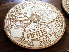EA Sports / FIFA 15 Pressecup Medaillen designed by Christian Schupp Aro. Fifa 15, Ea Sports, Laser Engraving, Sporty, Wood Ideas, Graphics, Display, Craft, Illustration