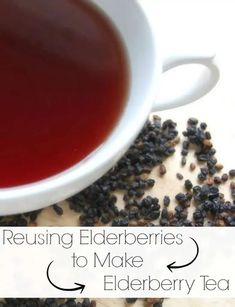 After making a batch of elderberry syrup, don't just throw out those used elderberries! Find out about reusing elderberries to make elderberry tea! #elderberry #elderberrytea #reusing #naturalremedies #colds #flu Elderberry Tea, Elderberry Recipes, Elderberry Gummies, Natural Health Remedies, Herbal Remedies, Tea Recipes, Real Food Recipes, Healthy Recipes, Healthy Drinks
