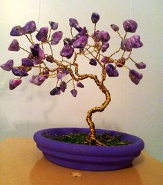 Gem Trees, Chakra Tree Art, Crystal Suncatchers by SpiritGemDesigns Diy Crafts To Do, Wire Crafts, Feng Shui Tree, Bonsai Wire, Twisted Tree, Wire Tree Sculpture, Pom Pom Crafts, Wire Trees, Crazy Lace Agate