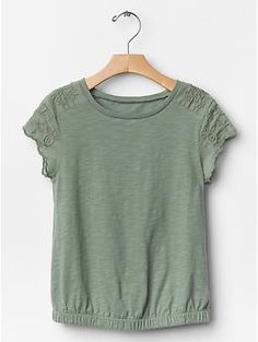 PURCHASED - Embroidered flutter-sleeve tee   Gap