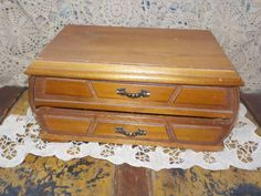 London Leather Solid Wood Jewelry Box  Curved Front and Sides by Daysgonebytreasures on Etsy