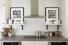 Ask Maria: Will My White Kitchen be Cold? | Maria Killam. Herringbone pattern white subway tile.