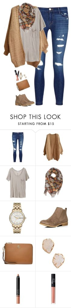 """Camel cardigan with plaid scarf & pocket tee"" by steffiestaffie ❤ liked on Polyvore featuring J Brand, Mlle Mademoiselle, Marc Jacobs, Dorothy Perkins, Tory Burch, Kendra Scott and NARS Cosmetics"