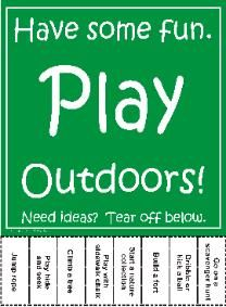 Print this flyer and children can tear off activity ideas