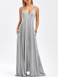 Oversized Maxi Pockets Slip Dress In Light Gray,Xl | Twinkledeals.com