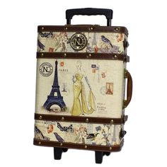"""Nicole Lee Upright Carry On  19""""h x 14""""w x 7""""d Vintage European Design. $ 85.99.>> How annoyed am I that I just bought new luggage and can't justify owning this one, too??"""