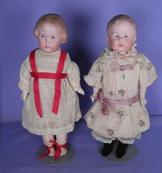 Two Adorable Antique Bisque Head Heubach Character Dolls in Antique Clothes