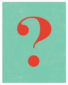 Typography Print Question Mark Retro poster por sillyretroprints, zł59,00
